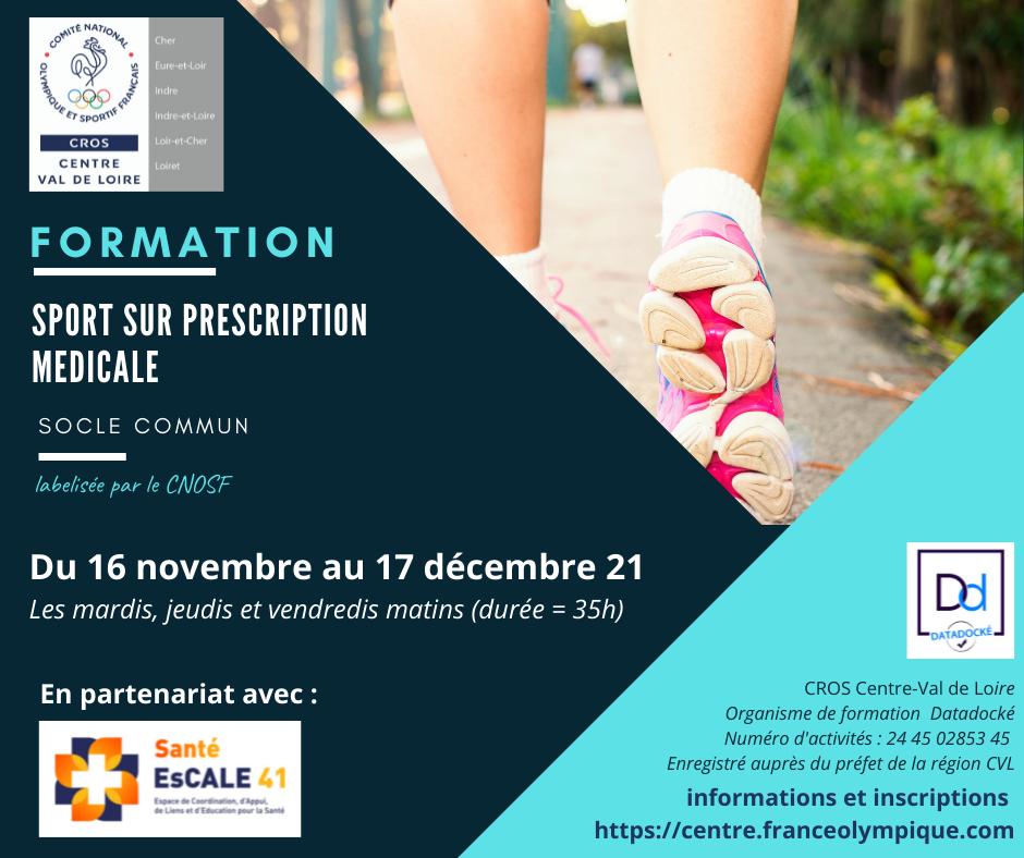 """Formation """"Sport sur prescription médicale"""" à Blois en novembre et décembre 2021"""